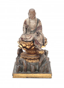 Een Japanse lakwerk en vergulde sculptuur, Jizo Bosatsu. Edo (1603-1868)