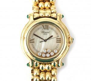 Een 18 krt goud met diamanten Chopard horloge, Happy Sport, 1995
