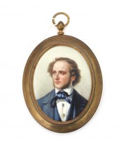 Een portretminiatuur op porselein. Felix Mendelssohn Bartholdy. Gemerkt W. Guérin & Co, Limoges Frankrijk.