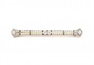 Art Deco witgoud met platina staafbroche met diamant en parels