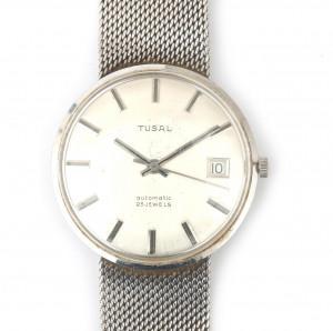 Een 14 krt witgouden Tusal horloge met ronde kast, zilverkleurige wijzerplaat, streepjesindex aan 14 krt witgouden Milanese band, 18 cm. Automaat, 25 jewels. Geen doos, geen papieren. Gewicht: 54.6 gram
