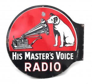 Een groot dubbelzijdig emaille uithangbord voor His Master's Voice Radio, Engeland, ca. 1930.