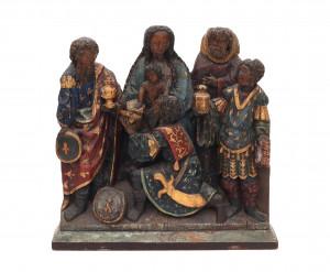 Een eikenhouten sculptuur. Aanbidding der wijzen. 16e eeuw